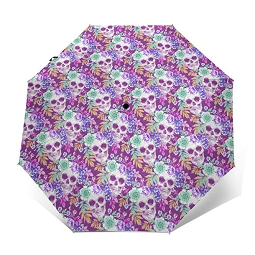 Water Repellent Automatic Umbrellas For Women Men Kids, Outdoor Umbrellas With Teflon Coating/8 Ribs, Auto Open And Close Button, Funny Sugar Skulls Purple Flowers Umbrellas