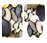 TOPCHANCES 3 Piece Bathroom Rugs Set, Soft Non Slip Memory Foam Large Bathroom Mats Perfect Combination of Luxury and Comfort Rug Mats, Shower Bath Rugs, Contour Mat and Lid Cover (Colorful Stones)