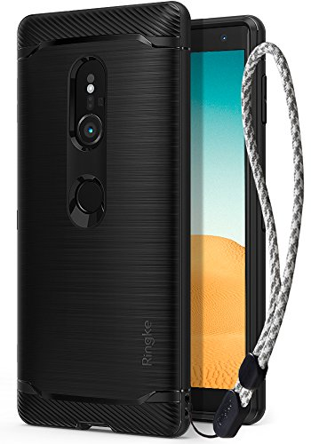 Xperia XZ2 Case, Ringke [Onyx] Brushed Metal Design [Flexible & Slim] Dynamic Stroked Line Pattern Durable Anti Slip Impact Shock Absorbent Case with Wrist Strap for Sony Xperia XZ 2 (2018) - Black