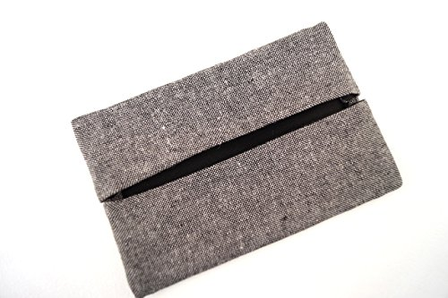 Grey Linen Fabric Pocket Travel Tissue Holder