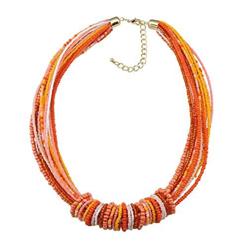Bocar Chunky Statement Colorful Seed Beads Women Choker Collar Necklace (NK-10314-orange+Yellow) ()