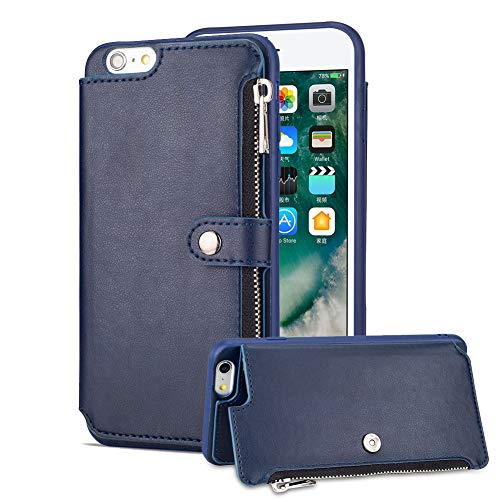 Aearl iPhone 6 Zipper Wallet Case,iPhone 6S Leather Case with Card Holder,Apple iPhone 6S 6 Flip Folio Credit Card Slot Money Pocket Magnetic Detachable Buckle Wallet Phone Case for Women Men-Blue by Aearl