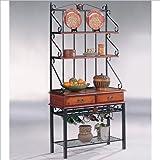 Coaster Dirty Oak Finish Metal & Wood Baker's Kitchen Rack w/Drawers