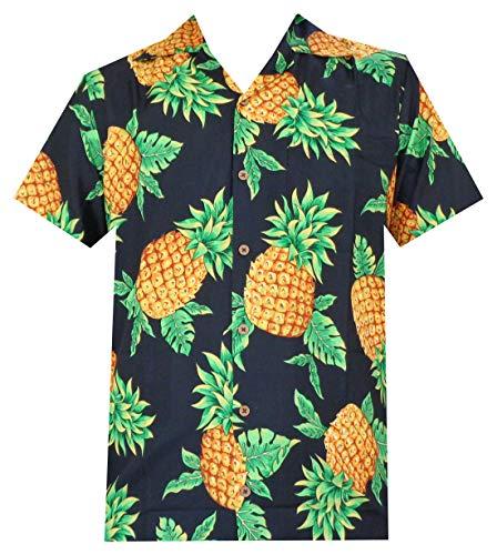 Hawaiian Shirts 50 Mens Pineapple Leaf Beach Aloha Casual Holiday Black S