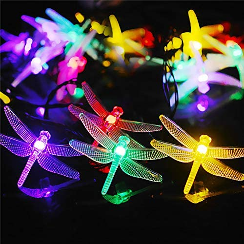 Solar String Lights, Dragonfly Lamp String Indoor Outdoor Decorative Colorful Lights Garden Yard Decoration Waterproof Dragonfly String Lights with Rechargeable Battery. 23
