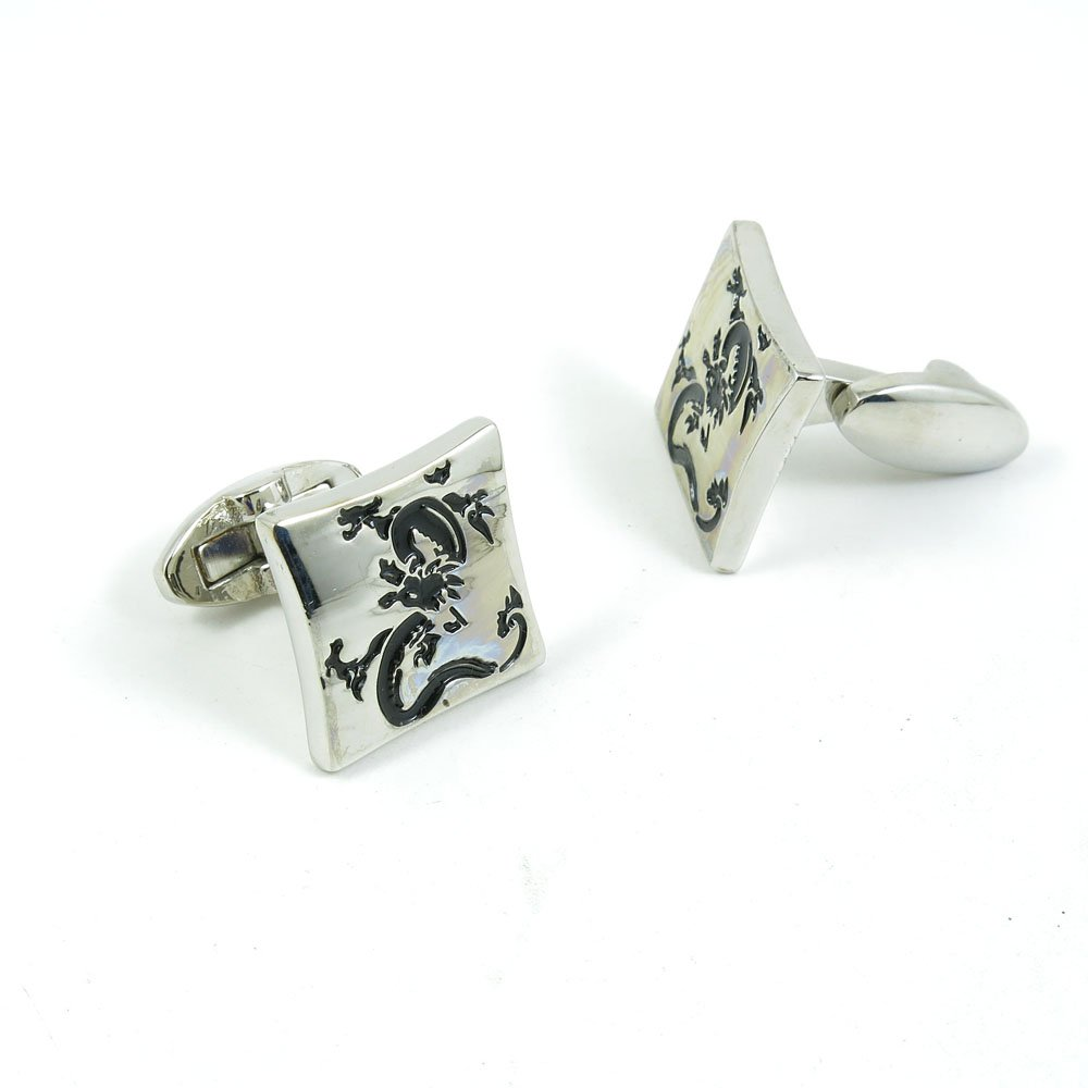 Cufflinks Cuff Links Classic Fashion Jewelry Party Gift Wedding 471153 Black Dragon Silver Square