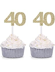 Giuffi Set of 24 Golden 40 Number Cupcake Toppers 40th Birthday Celebrating Decors - by