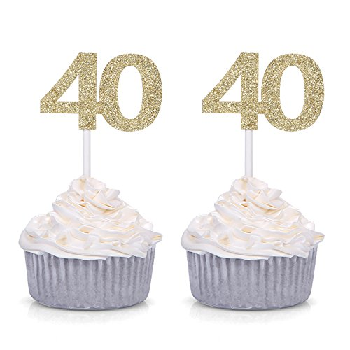 Giuffi Set of 24 Golden 40 Number Cupcake Toppers 40th Birthday Celebrating Decors -