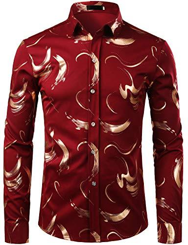ZEROYAA Mens Geek Design Metallic Copper Golden Slim Fit Long Sleeve Button Down Dress Shirts Tops ZZCL10 Wine Red Small ()