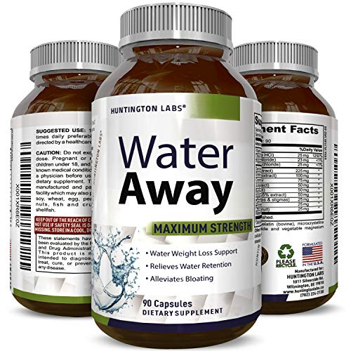 Water Away Supplement for Men and Women Natural Diuretic Pills Relieve Water Retention Fast Reduce Bloating Swelling for Weight Loss Pure Dandelion Green Tea 90 Capsules by Huntington Labs