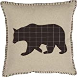VHC Brands Rustic & Lodge Throws-Wyatt Tan Applique Bear 18'' x 18'' Pillow, Brown