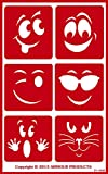 Armour Products Over N Over Glass Etching Stencil, 5-Inch by 8-Inch, Wacky Faces
