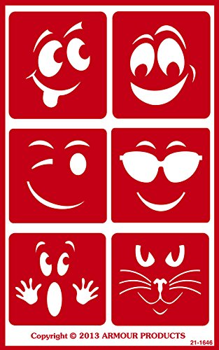 Armour Products Over N Over Glass Etching Stencil, 5-Inch by 8-Inch, Wacky Faces ()