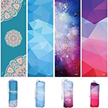 """Syourself Yoga Towel-72""""x 24""""- Ultra Absorbent, Lightweight, Soft-Perfect Microfiber Skidless Bikram Hot Yoga Mat Towel for Fitness Exercise Sports& Outdoors + Travel Bag"""