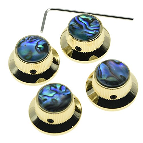 KAISH 4x Abalone Top Gold LP Top Hat Knobs with Set Screw Metal Bell Knobs for Guitar Bass with 6mm Shaft (Gold Bell Knobs)