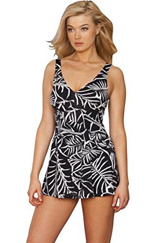 Maxine of Hollywood Black Palm V-Neck Empire Swimdress Size 14