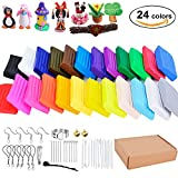 clay tool starter kit - Polymer Clay, Outgeek 24 Colors Oven Bake Clay, Soft Modeling Clay Starter Kit with 14 Sculpting Tools and Jewelry Accessories for Kids