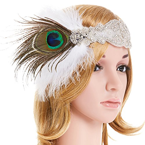 eforpretty White Crystal 1920s Flapper Headpiece Headband with Feather Comb