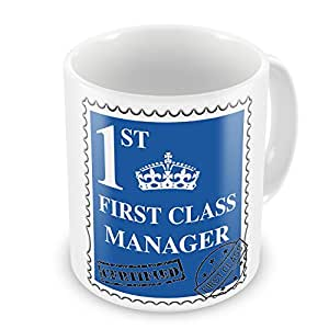 First Class Manager diseño de taza–azul