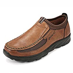 Gracosy Slip-on Boat Shoes,Men Hand Stitching Microfiber Leather Non-Slip Sneakers Casual Walking Loafers Dark Brown 10 D(M)US