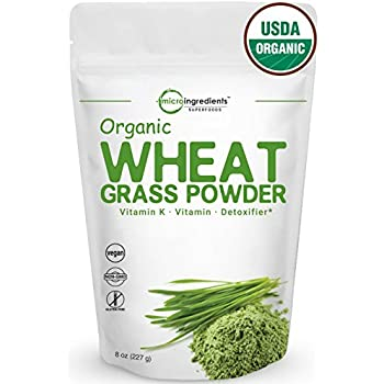 Sustainably US Grown, Organic Wheat Grass Powder, 75 Serving (8 Ounce), Rich Fiber, Chlorophyll, Antioxidants and Essential Amino Acids, Minerals, Vitamins. Best Vegan and Non-GMO Superfoods.