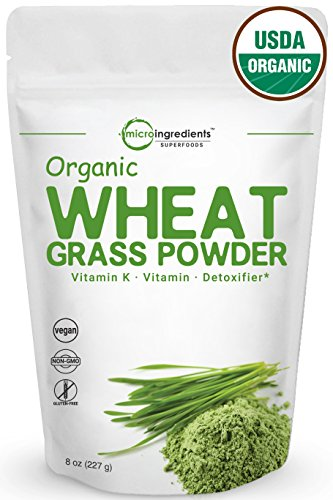 Sustainably US Grown, Organic Wheat Grass Powder, 8 Ounce (75 Serving), Rich in Fiber, Chlorophyll, Fatty Acids and Minerals, Best Superfoods for Smoothie and Beverage, Non-GMO and Vegan Friendly