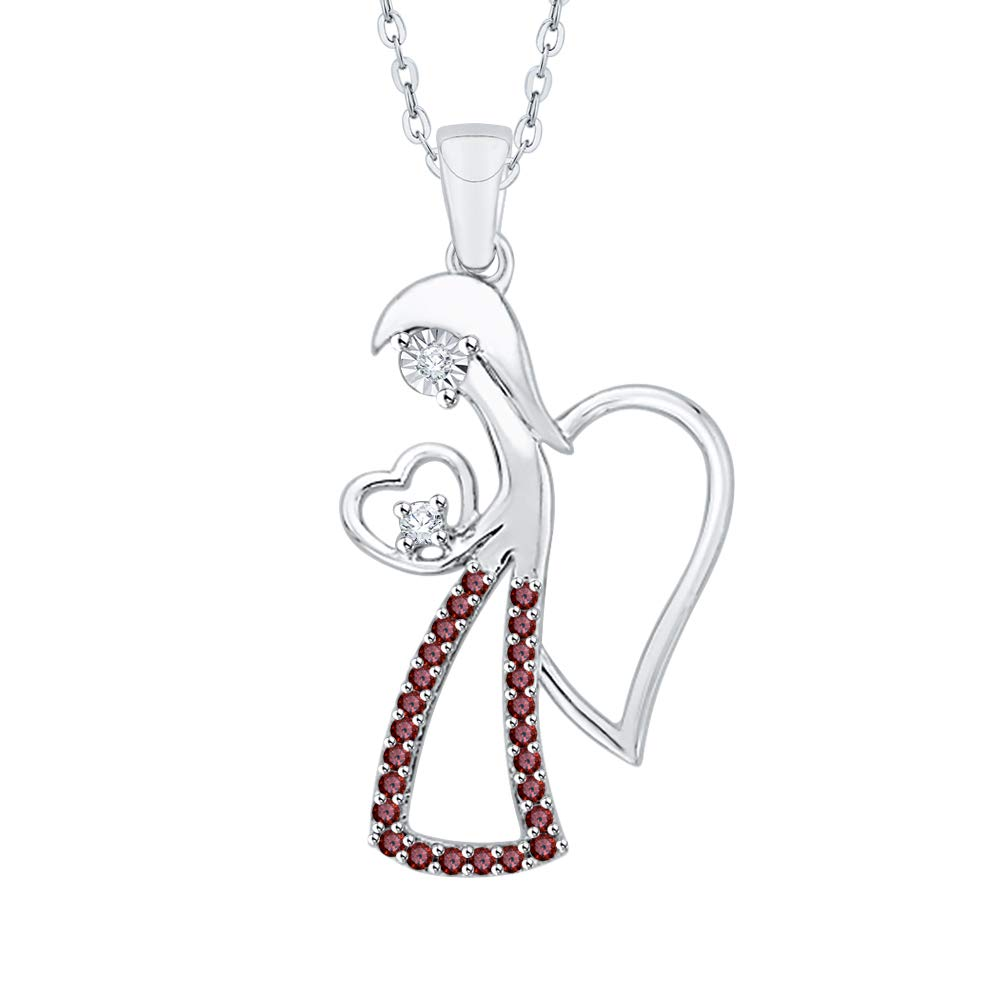 1//6 cttw, I-J, I1-I2 KATARINA Diamond and Gemstone Miracle Plate Angel Heart Pendant Necklace in 10k Gold