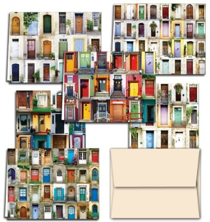 (72 Note Cards - Display of Doors - 6 Designs - Blank Cards - Off-White Ivory Envelopes Included)
