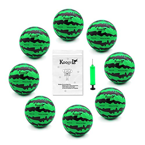 (Koogel 8 PCS Watermelon Ball Needle Kit,Beach Balls 6.2 Inch Water Bouncing Ball Air Fillable Balls Watermelon Toy for Summer Party Swimming Pool Beach Outdoor Games)