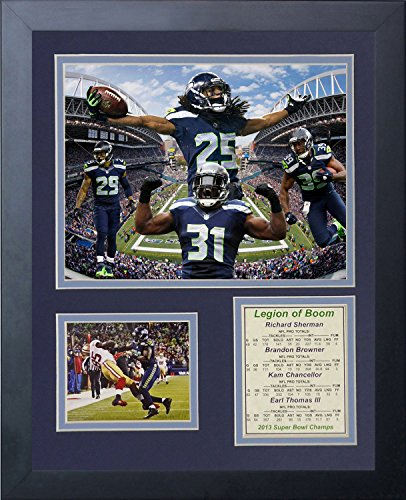 (Legends Never Die 2014 Seattle Seahawks Super Bowl XLVIII Champions Legion of Boom Framed Photo Collage, 11x14-Inch)