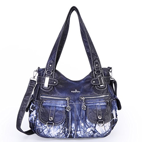 Angelkiss Women's Designer Handbag Large Double Zipper Multi Pocket Washed, Blue-z