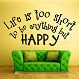live Is to Short quote wall signs quote wall stencils quote wall stickers quote wall decals Words Sign Quote (Z831)