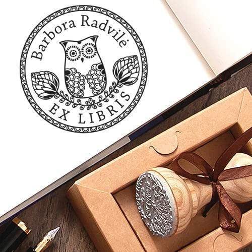 Sellos Personalizados, Ex libris Búho Sello de Goma Personalizable Madera, Sello Personalizado Libro Pájaro Sabiduría, Caja de Regalo: Amazon.es: Handmade