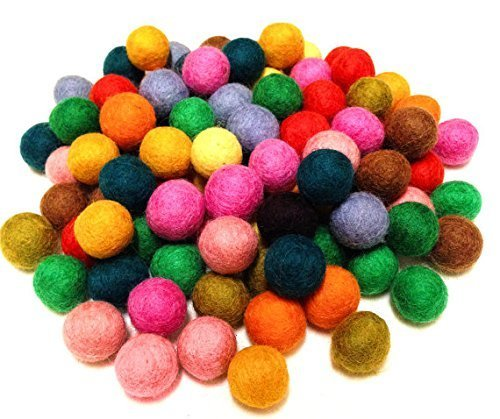 Yarn Place Felt Wool Balls - 200 Pure Wool Beads 10mm Mixed Colorful Colors
