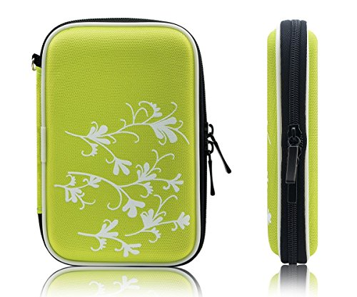 """Xcessor Protectron T2 2.5"""" Inch Portable Case For Hard Drive HDD. Protective Bag With Flower Texture. Green"""