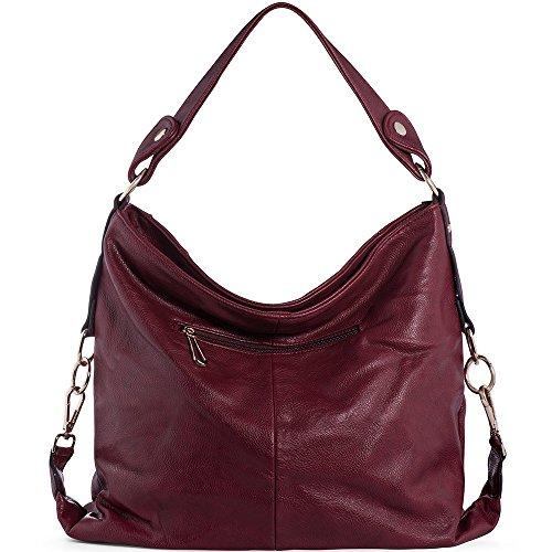 Women Bags Handbags Women's PU UTAKE for For Shoulder Red Ladies Top Hobo Dark Handle Handbags Leather Purse XwqA5xq