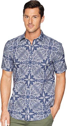 Bugatchi  Men's Shaped Fit Indigo Paisley Woven Shirt Navy Medium