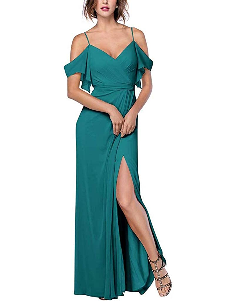 Teal RTTUTED Women's Spaghetti Strap Slit Bridesmaid Dresses Long Evening Formal Gown