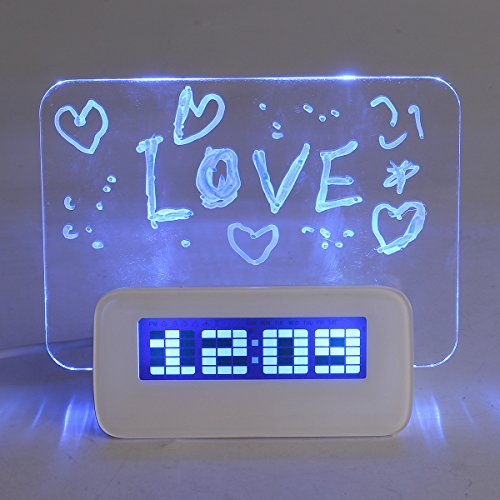 SOLOOP Multifunctional LED Digital Alarm Clock/Calendar/Thermometer+ Fluorescent Message Board+ Highlighter, with 4 USB ports, Ideal Gift for Valentine's Day/Halloween/New Year/Birthday (Blue Light)