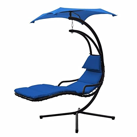 Swing Hammock Hanging Canopy Outdoor Patio Garden Chaise Lounger Chair Air  Porch (Blue)