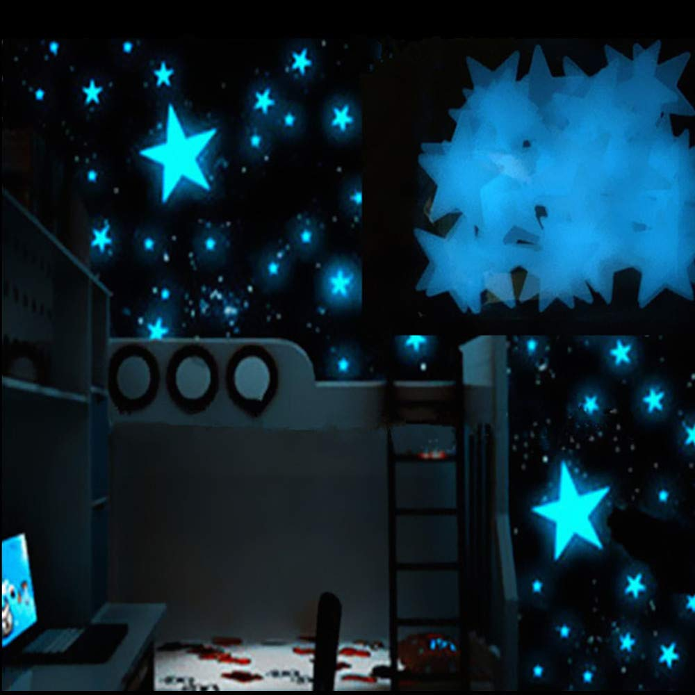 Fanteecy 100PC Kids Bedroom Fluorescent Glow in The Dark Stars Wall Stickers Girls Room Decorations (Blue)