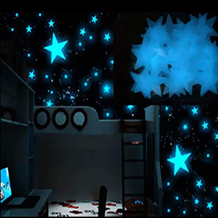 Glow In The Dark Room Decor.Fanteecy 100pc Kids Bedroom Fluorescent Glow In The Dark Stars Wall Stickers Girls Room Decorations Blue