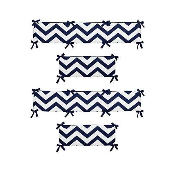 Sweet Jojo Designs Navy Blue and White Chevron Collection Crib Bumper