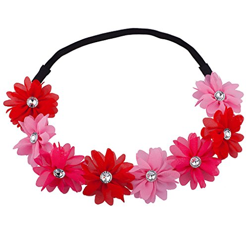 Lux Accessories Shades of Pink Flower Floral Chiffon Headband