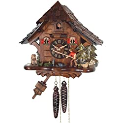 River City Clocks One Day Cuckoo Clock Cottage, Fisherman Raises Fishing Pole