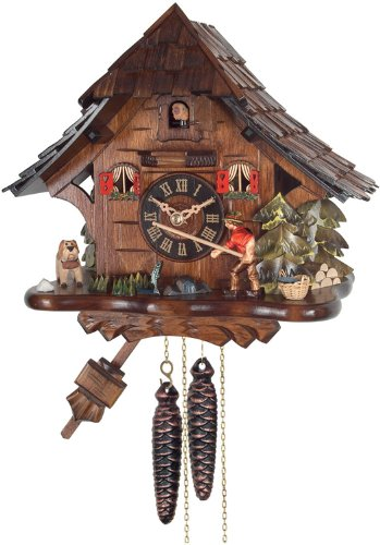 River City Clocks One Day Cuckoo Clock Cottage, Fisherman Raises Fishing ()