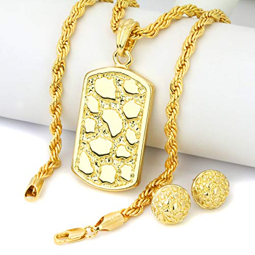 Jewel Town Gold Plated 14k Hip Hop Half Nugget Cut Back Butterfly Earrings & Dog Tag Pendant w/Rope Chain 24