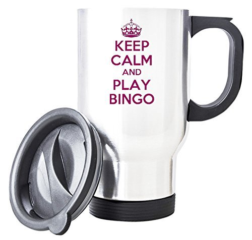 Pink KEEP CALM And Play Bingo White Travel Mug by Duke Gifts by Duke Gifts