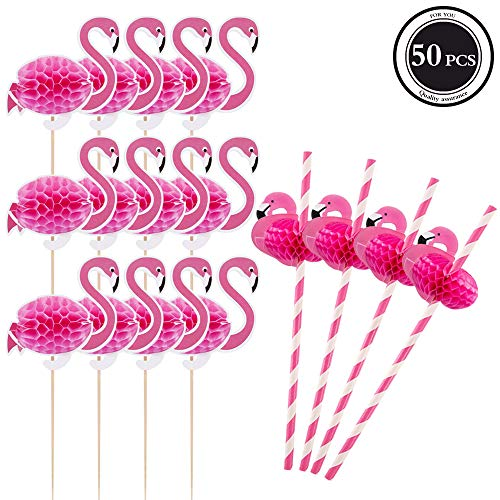 Hanjoy 50 PCS 3D Pink Flamingo Cupcake Toppers with Straws Party Supplies Cocktail Picks Cake Decoration for Hawaii Birthday Wedding Beach Party -