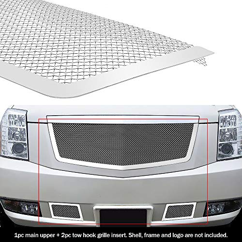 (APS Fits 2007-2014 Cadillac Escalade Stainless Steel Mesh Grille Grill Insert Combo # A77740T)